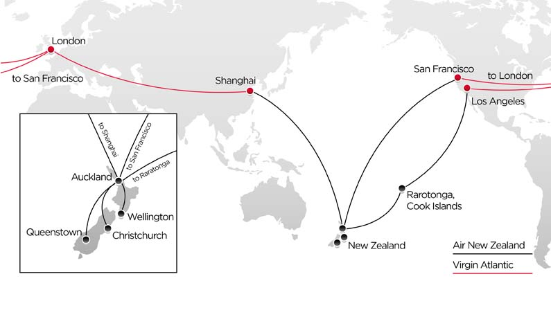 New Zealand Route Map.Fly With Our Codeshare Partner Air New Zealand Virgin Atlantic